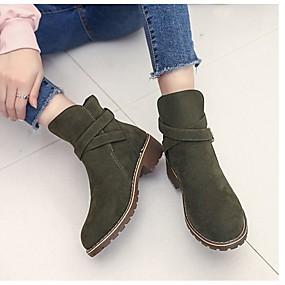 billige Mote Boots-Dame Støvler Tykk hæl Rund Tå Spenne Fleece Ankelstøvler Kampstøvler Høst / Vinter Svart / Militærgrønn