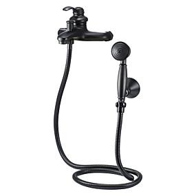povoljno 80% SNIŽENO-Slavina za tuš - Starinski Lakirana bronca Kada i tuš Keramičke ventila Bath Shower Mixer Taps / Brass / Jedan obrađuju dvije rupe