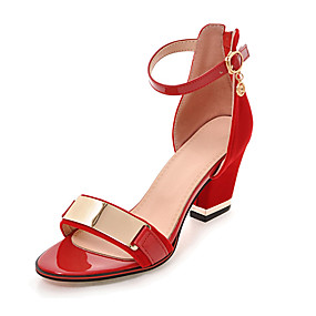 cheap Shoes & Bags-Women's Leatherette Spring / Summer Club Shoes Sandals Chunky Heel Zipper / Metallic Toe Black / Red / Party & Evening / Party & Evening / EU42