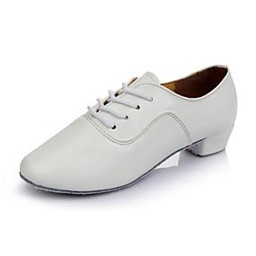 billige Moderne sko-Dame Barns Dansesko Syntetisk / Lakklær Flate Lav hæl Kan spesialtilpasses Dansesko Hvit / Svart / Sølv / Innendørs