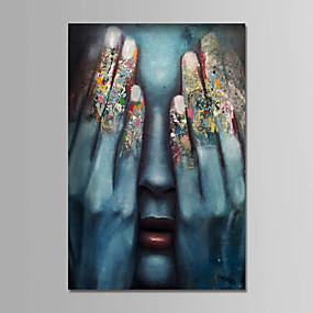 voordelige Life VC-Hang-geschilderd olieverfschilderij Handgeschilderde - Mensen Hedendaags Eenvoudig Modern Inclusief Inner Frame / Uitgerekt canvas