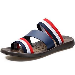 baratos Sandálias Masculinas-Unisexo Sapatos Confortáveis Couro / Lona Primavera / Verão Chinelos e flip-flops Branco / Azul Escuro / Casual / Ao ar livre