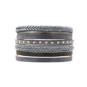 baratos Pulseiras Vintage-Mulheres Enrole Pulseiras Pulseiras de couro senhoras Simples Clássico Vintage Pele Pulseira de jóias Cinzento Para Diário Para Noite