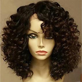 billige Curly Lace Wigs-Ekte hår Halvblonder uten lim Blonde Forside Parykk stil Brasiliansk hår Krøllet Parykk 130% Hair Tetthet med baby hår Naturlig hårlinje ubehandlet limfrie Dame Kort Medium Lengde Blondeparykker med