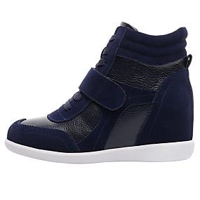 voordelige Damessneakers-Dames Sneakers Sleehak Ronde Teen Leer Comfortabel / Modieuze laarzen Herfst / Winter Bruin / Roze en Wit / Wit / Blauw / Kleurenblok / EU40