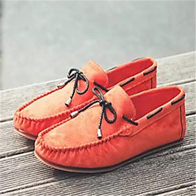baratos Sapatos Náuticos Masculinos-Homens Mocassim Camurça Primavera / Outono Sapatos de Barco Antiderrapante Preto / Laranja / Azul Escuro / Cadarço