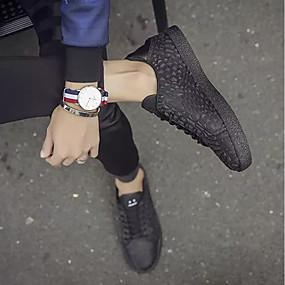 baratos Tênis Masculino-sapatos Micofibra Sintética PU Primavera Outono Conforto Tênis para Casual Preto Prata Vermelho