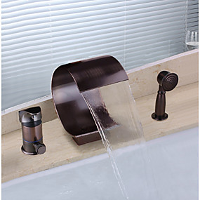 cheap 90% OFF-Bathtub Faucet - Antique Oil-rubbed Bronze Widespread / Brass / Single Handle Three Holes