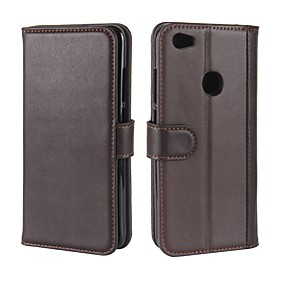 levne Pouzdra telefonu-Carcasă Pro Xiaomi Redmi Poznámka 5A Peněženka / Pouzdro na karty / se stojánkem Celý kryt Jednobarevné Pevné Pravá kůže pro Redmi Note 5A