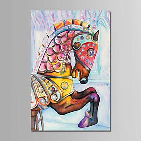 levne Abstraktní malby-Hang-malované olejomalba Ručně malované - Zvířata Zvířata Moderní Obsahovat vnitřní rám / Reprodukce plátna