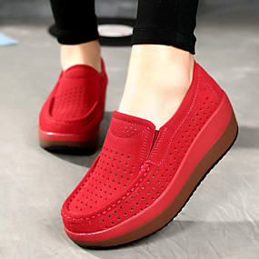 voordelige Damesinstappers & loafers-Dames Loafers & Slip-Ons Sleehak Ronde Teen Leer Comfortabel Zomer / Herfst Donkerblauw / Grijs / Rood / EU40