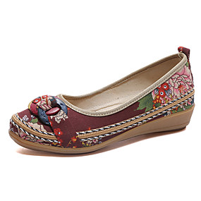 voordelige Damesinstappers & loafers-Dames Loafers & Slip-Ons Lage hak Ronde Teen Weefsel Comfortabel Lente Zwart / Bruin / Beige / EU37