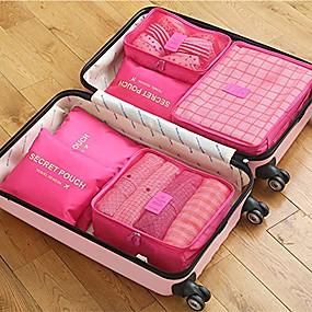 billige Rejse-6 sæt Rejsetaske / Rejsearrangør / Rejsebagageorganisator Stor kapacitet / Vandtæt / Bærbar BH / Tøj Oxford-stof Rejse / Holdbar / Dobbeltsidet lynlås / Tilbehør taske / Skotaske