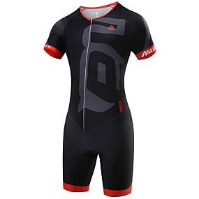 Χαμηλού Κόστους Ξεπούλημα-Malciklo Ανδρικά Κοντομάνικο Ολόσωμη στολή για τρίαθλο Λευκό Μαύρο Πράσινο Γεωμτερικό Βρετανικό Ποδήλατο Αναπνέει Γρήγορο Στέγνωμα Αθλητισμός Coolmax® Λίκρα Γεωμτερικό Ρούχα / Υψηλή Ελαστικότητα