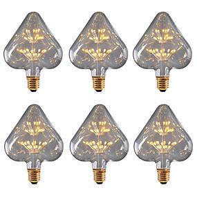 billige Globepærer med LED-BRELONG® 6pcs 3W 300lm E26 / E27 LED-globepærer 30 LED perler SMD Stjernefull Dekorativ Gul 220-240V