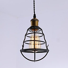 billige Hengelamper-vintage svart metall bur loft anheng lys stue spisestue hall kafé barer lysarmatur malt ferdig