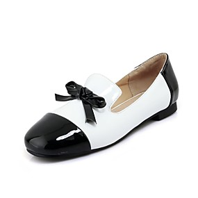 cheap Women's Flats-Women's Shoes Patent Leather Spring / Fall Ballerina Flats Flat Heel Square Toe Bowknot Black / Red