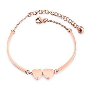 baratos Pulseira de Charme-Mulheres Pulseiras com Pendentes Coração senhoras Desenho Aço Inoxidável Pulseira de jóias Ouro Rose Para Cerimônia Ano Novo