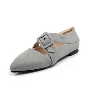 voordelige Damesschoenen met platte hak-Dames Platte schoenen Platte hak Gepuntte Teen Gesp Nubuck leder Comfortabel Lente / Herfst Zwart / Grijs / Rood