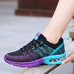 voordelige Damessneakers-Dames Sportschoenen Platte hak Ronde Teen Veters PU Comfortabel Lente / Herfst Paars / Roze / Red and White / EU39
