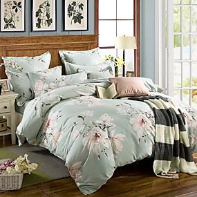 billige Blomstrete dynetrekk-Sengesett Blomstret Polyester / Bomull Mønstret 3 delerBedding Sets
