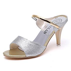 abordables Chaussures Plates pour Femme-Femme Polyuréthane Eté Confort Ballerines Talon Bas Bout rond Chaîne Or / Noir / Argent / Habillé