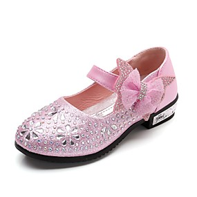 ace6c5ed5979 Girls  Shoes Leatherette Spring Comfort   Flower Girl Shoes Heels  Rhinestone   Bowknot   Sparkling Glitter for Silver   Blue   Pink   Wedding    Magic Tape ...
