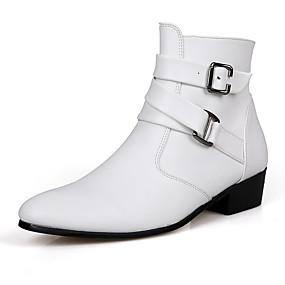 baratos Botas Masculinas-Homens Sapatos Confortáveis Couro Ecológico Outono / Inverno Clássico Botas Caminhada Vestível Botas Cano Médio Preto / Branco / Coturnos