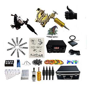billige Tatoveringssett for nybegynnere-Tattoo Machine Profesjonell Tattoo Kit - 2 pcs tattoo maskiner, Spenning Justerbar / Profesjonell LED strømforsyning Etui inkludert 2 x