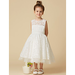 dc8b1c55753 A-Line Tea Length Flower Girl Dress - Lace   Tulle Sleeveless Jewel Neck  with Lace by LAN TING BRIDE®