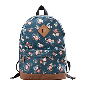 cheap School Bags-Women's Bags Canvas Backpack Pattern / Print Floral Print Red / Dark Blue / Royal Blue