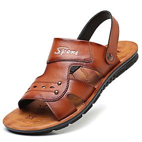 abordables Chaussures homme-Homme Chaussures de confort Microfibre Printemps / Eté Sandales Noir / Marron / Décontracté / Rivet / De plein air