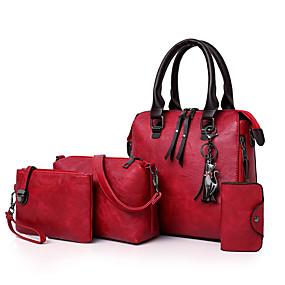 Női Táskák PU bőr táska szettek 4 db erszényes készlet Cipzár   Rojt  Virágminta Rubin   Szürke   Barna ea0fdb499c