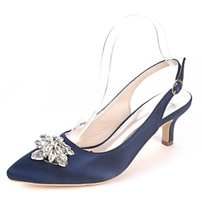 cheap Shoes & Bags-Women's Satin Spring & Summer Basic Pump Wedding Shoes Kitten Heel Pointed Toe Rhinestone Royal Blue / Champagne / Ivory / Party & Evening