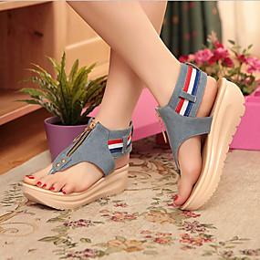 cheap Women's Wedges-Women's Sandals Wedge Heels Wedge Heel Cap-Toe Denim Comfort / Novelty Summer Blue / Light Blue / EU42