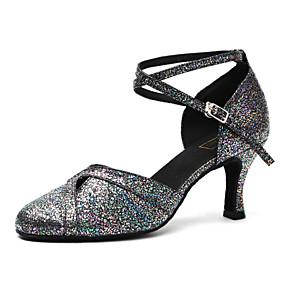 c1d5028e8bc Γυναικεία Μοντέρνα παπούτσια Λουστρίν Τακούνια Πούλιες Πυκνό τακούνι  Παπούτσια Χορού Μαύρο και Ασημί / Εξάσκηση