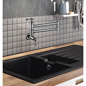 abordables Spray Amovible-Robinet de Cuisine / Robinet lavabo - Deux poignées un trou Chrome Pot Filler Installation Murale