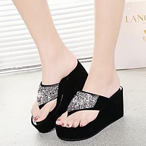 cheap Women's Slippers & Flip-Flops-Women's Slippers & Flip-Flops Creepers Round Toe Rhinestone PU(Polyurethane) Comfort Summer White / Black