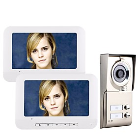 povoljno Telefon s video vratima-MOUNTAINONE 2 Apartments  Video Door Phone Kabel 7 inch Hands-free 480*234 Pixel One to Two video doorphone