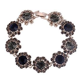 baratos Pulseiras Vintage-Mulheres ônix Pulseira Longas Flor Europeu Fashion Elegante Strass Pulseira de jóias Azul Escuro / Cinzento / Roxo Para Festa