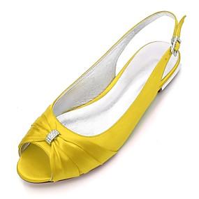 billige Sko i store størrelser-Dame bryllup sko Flat hæl Titte Tå Rhinsten Sateng Komfort / Slingback Sko Vår Blå / Lysebrun / Krystall / Bryllup / Fest / aften / EU39