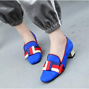 voordelige Damesinstappers & loafers-Dames Loafers & Slip-Ons Blokhak Gesloten teen  Suède Comfortabel / Slingback Lente zomer Zwart / Rood / Blauw / Dagelijks
