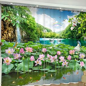 abordables Cortinas 3D-Oscuridad Cortinas 3D 2 * (W110cmxL180cm) Verde / Dormitorio