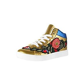 voordelige Damessneakers-Dames Sneakers Platte hak Gesloten teen  Microvezel Comfortabel Lente / Zomer Goud / Wit / Zwart