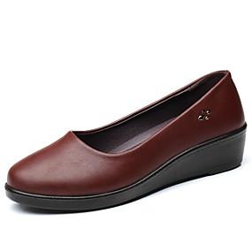 voordelige Damesschoenen met platte hak-Dames Platte schoenen Leren schoenen Sleehak Ronde Teen Pailletten Microvezel Comfortabel Wandelen Herfst winter Zwart / Bruin