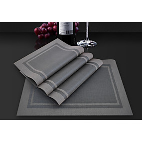 cheap Placemats-Classic PVC(PolyVinyl Chloride) Square Placemat Printing Table Decorations 4 pcs