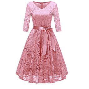 povoljno Crvene haljine-Žene Party Izlasci Vintage 1950-te A kroj Haljina - Čipka Mašna V izrez Do koljena Dusty Rose