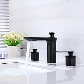 billige Ugentlige tilbud-Baderom Sink Tappekran - Utbredt / Nytt Design Malte Finishes Vannrett Montering To Håndtak tre hullBath Taps