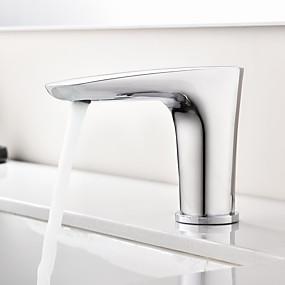 abordables Offres de la Semaine-Robinet lavabo - Tactile / non tactile / A détecteur Chrome Set de centre Mains libres un trouBath Taps