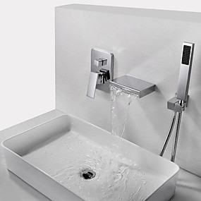 cheap Shop by Room-Bathtub Faucet - Contemporary Chrome Wall Mounted Brass Valve Bath Shower Mixer Taps / Single Handle Three Holes